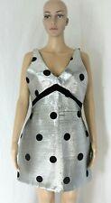 Topshop Womens V Neck Mini Party Dress Metallic Silver Black Polka Dot Size 8