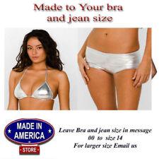 Plus size 14 - 22 Metallic Bikini Set  Hot Sexy Shiny Silver  Swimsuit