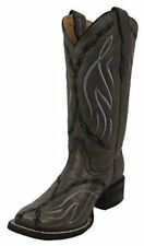 CORRAL Youth Grey Barbed Wire Embroidery Square Toe Cowboy Boots E1101 3 D(T) US