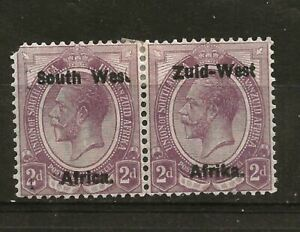 """SOUTH WEST AFRICA (765)1923 SG3b VARIETY """"WAS"""" NOT WEST PAIR CAT £325 MM / MH"""