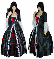 Medieval Gothic Evil Vampire Queen Game Thrones Dress Gown Costume - M 10-12-14