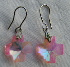 hand made + free stoppers Beautiful crystal cross shaped earrings