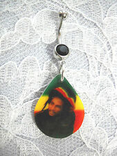 NEW BOB MARLEY PICTURE DROPLET w HAT RASTA COLORS ON BLACK CZ BELLY BUTTON RING