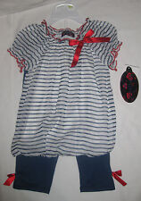 NWT Tempted Girls Navy & White Striped 2pc Summer Outfit