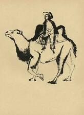 KAMELREITER in CHINA - Gustav SEITZ - Original Druckgraphik um 1950