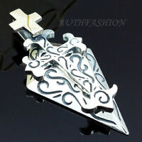 P262S Mens Sterling Silver 925 Celtic Cross Pendant w Sield for Chain Necklace