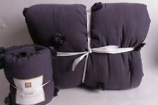 Pottery Barn PB Teen Crinkle Puff FQ quilt & 1 sham full queen vintage ebony