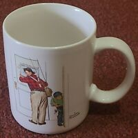 VTG NORMAN ROCKWELL COFFEE MUG CUP CLOSED FOR BUSINESS FISHING THEME 1987 EUC