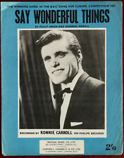 Ronnie Carroll Say Wonderful Things by Philip Green & Norman Newell - Pub. 1963
