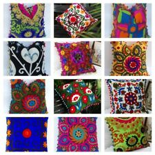 "16"" Suzani Cotton Cushion Cover Wool Embroidery Indian Boho Decor Tribal Pillow"