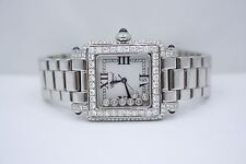 CHOPARD HAPPY SPORT SQUARE STAINLESS STEEL DIAMOND ENCRUSTED WATCH 278349-3006