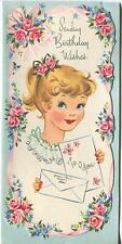 VINTAGE PRETTY BLUE EYES GIRL PONYTAIL PINK ROSES GARDEN FLOWERS BD CARD PRINT