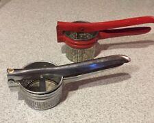 2 Vintage 1950's Kitchenware Red + Steel Metal Potato Ricers Mashers