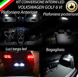 KIT LED INTERNI COMPLETO VW GOLF 6 VI + LUCI TARGA LED CANBUS NO AVARIA LUCI