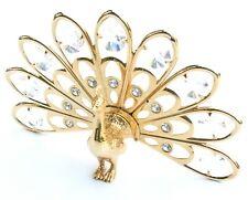 Shiny gold-tone Peacock with Crystals Ornament. Self standing.
