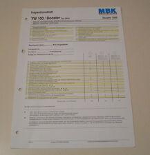 Inspektionsblatt MBK Motorroller YW 100 / BOOSTER - ab 1999!