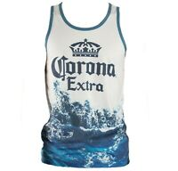 Corona Tank Top Ocean Wave Extra Beer Graphic Tee Shirt Men's Size Medium-3XL