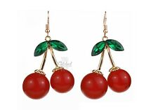 Cherry Earrings Red Gold Burlesque Kitsch Rockabilly Pinup Vintage Retro Fruit