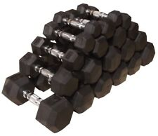 1-10kg Rubber Hex Dumbbell Set - No Stand // 10 Pairs 1 kg Increments Home Gym