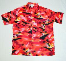 VTG Sunset Hawaiian Islander Aloha Red Palm Trees Island Button Shirt Mens XL