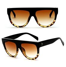 Vintage Shadow Designer Flat Top Aviator Oversized Women Gradient Sunglasses