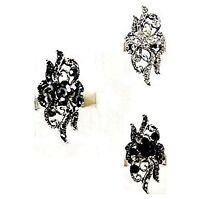 Bague réglable, ajustable, métal argenté, strass gris, noir... Bijoux fantaisie