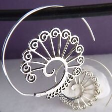 SILVERSARI Open Spiral PEACOCK TAIL Hoops Creole Earrings Solid 925Silver ES1020