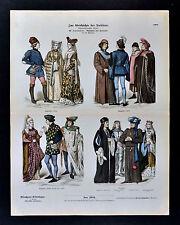 1880 Braun Costume Print 15th c. English French Dress England France Henry VII