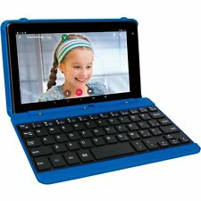 "2 in 1 Tablet Laptop 7"" Screen Quad-Core 16GB Android With Keyboard Case Blue"
