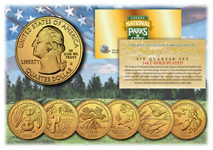 2020 2021 24K Gold National Parks America the Beautiful Coins Quarters SET of 6