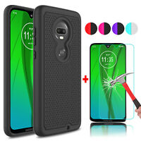 For Motorola Moto G7/Power/Play Shockproof Phone Case + Glass Screen Protector
