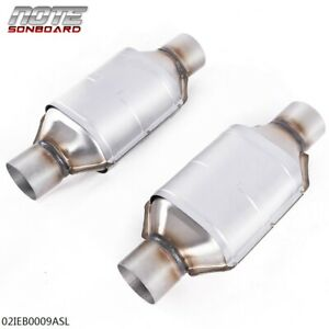 """Pair 2.5"""" Universal Catalytic Converter 83166 for Chevy Silverado 1500 GMC Ford"""