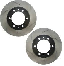 Pair Set of 2 Front Stoptech Slot Disc Brake Rotors for Toyota FJ Cruiser Tacoma