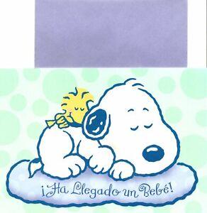 Spanish Peanuts Snoopy Woodstock New Baby Hallmark Sinceramente Greeting Card