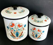 2 Vtg Floral Enamel Ware Tin Canisters with Lids Scandinavian Swedish Berggren