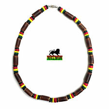 Rasta Coco & Brown Bamboo Necklace Jamaica Hawaii Bahamas Reggae Irie 8mm 20""