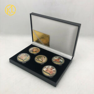 5pcs 45th Anniversary of Bruce Lee's Birth Gold Plated Coin in Nice black box