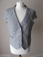 Women's Grey Check Collared  Waistcoat Jacket by H&M Size 44 16/18