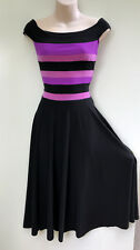 ROMYDA KETH Stretchy Off The Shoulder Black,Purple & Musk Pink Formal Dress sz M