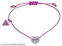 New GUESS Jewellery UBB11332 Pink Fabric Cord Women's Bracelet w Heart Charm