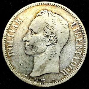 1900 - VENEZUELA 5 BOLIVARES (25 GRAM) .900 Silver Coin #1 Y#24.2.