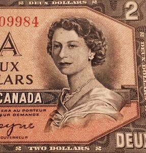 1954 Canada $2. DEVIL FACE Banknote.
