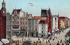 Thorn / Toruń Markt Geschäfte, belebte Strasse Postkarte gel. 1915 Podgorz