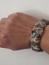 Genuine Lt. Red Zebra Jasper & Green Aventurine Stretch Bracelet 6.5 Inch