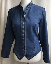 Stonebridge Denim Jacket Women Size 10 Studs Mock Collar 100% Cotton Jean Casual