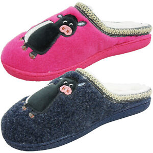 NEW WOMENS LADIES WARM FUR LINED WINTER SLIP ON MULE MOTIF SLIPPERS SHOES SIZE