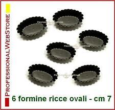 STAMPI A FESTONE FORME 6 FORMINE OVALI DOLCI FORNO cm 7 stampini antiaderenti