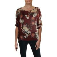 Lola Womens Red Floral Print Silk Blend Adjustable Sleeve Blouse Top S BHFO 4967