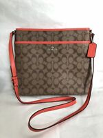 NWT Coach Women Signature File Cross-body Shoulder Bag F58297 Khaki Orange $225