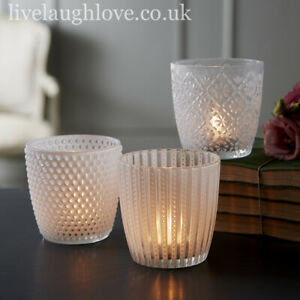 Set Of 3 Assorted White Frosted Tea Light Holders - Medium